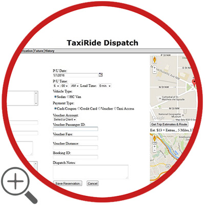 taxi dispatching system on fleet management software